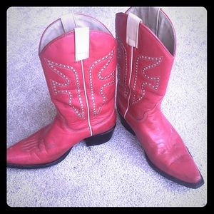 Frye red cowboy boots